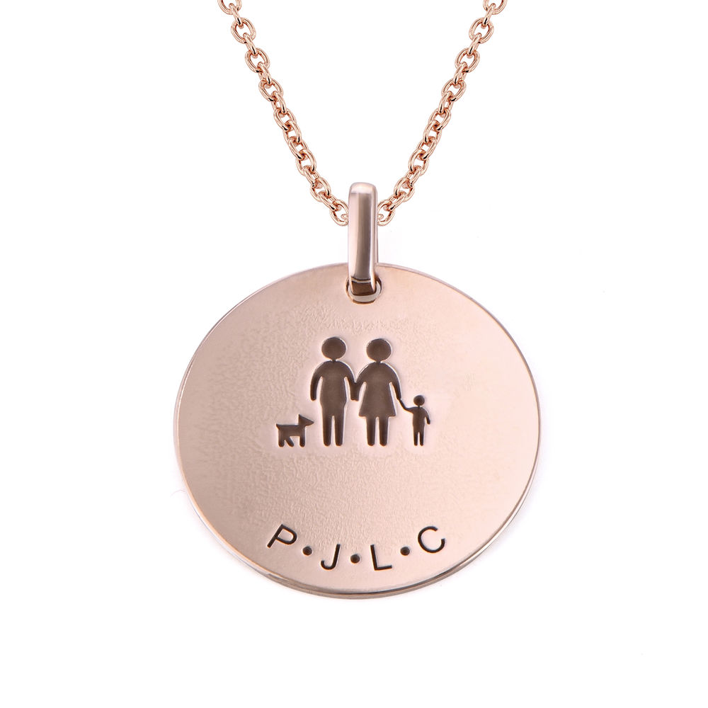 Family Necklace for Mom in 18K Rose Gold Plating - 1
