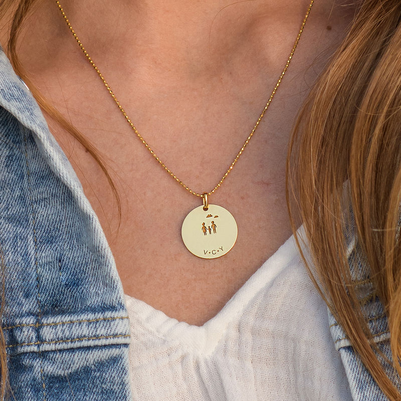Family Necklace for Mom in Gold Vermeil - 2