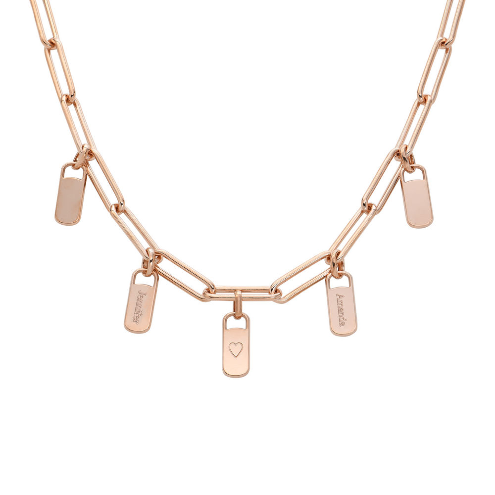 Chain Link Necklace with Custom Charms in Rose Gold Plating