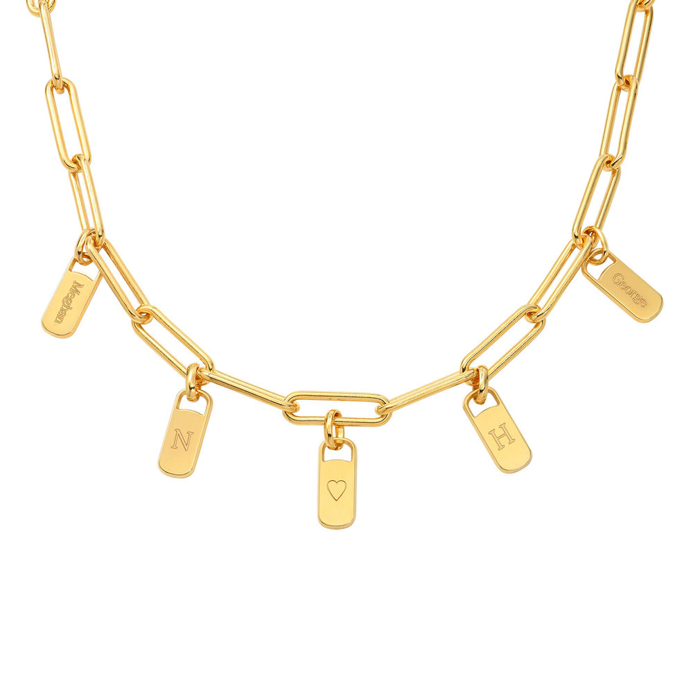 Chain Link Necklace with Custom Charms in Gold Vermeil
