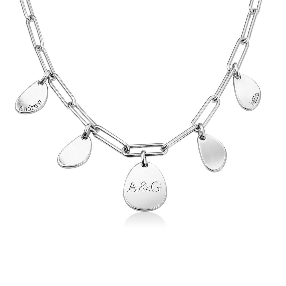 Personalized Chain Link Necklace with Engraved Charms in Sterling Silver