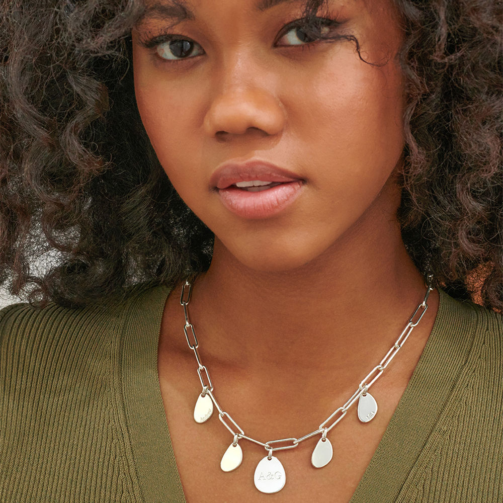 Hazel Chain Link Necklace with Engraved Charms in Sterling Silver - 1