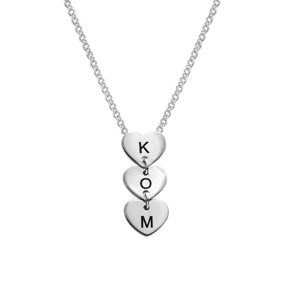 Vertical Initial Hearts Stackable Necklace in Sterling Silver