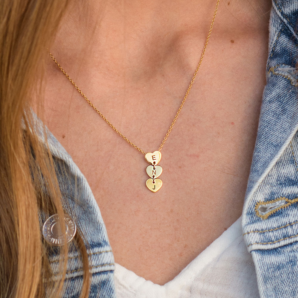 Vertical Initial Hearts Stackable Necklace in 18K Gold Plating - 1
