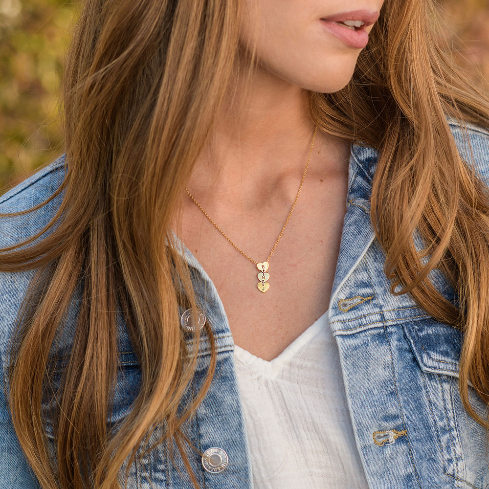 Vertical Initial Hearts Stackable Necklace in 18K Gold Plating - 2