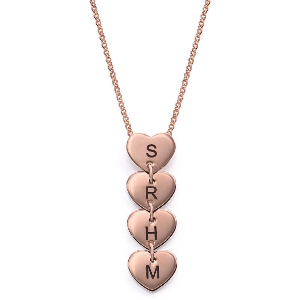 Vertical Initial Hearts Stackable Necklace in 18K Rose Gold Plating - 1