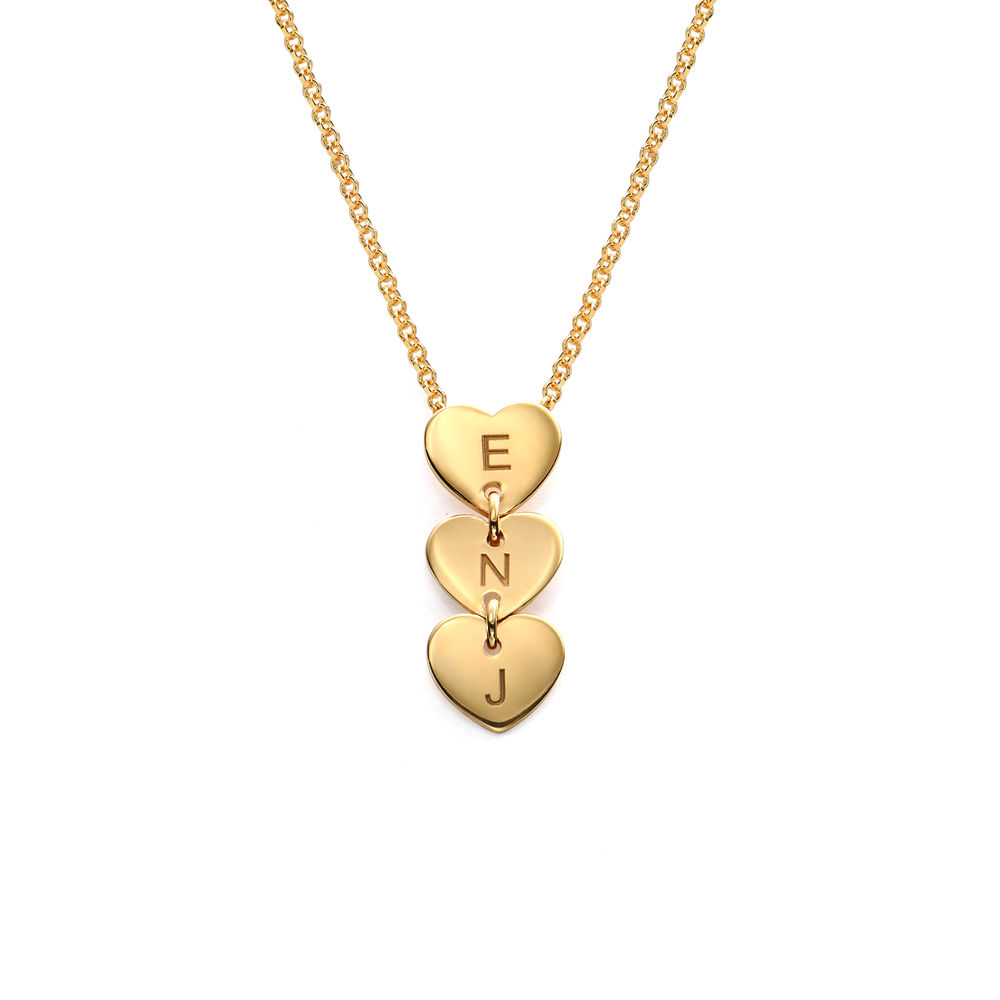 Vertical Initial Hearts Stackable Necklace in 18K Gold Vermeil