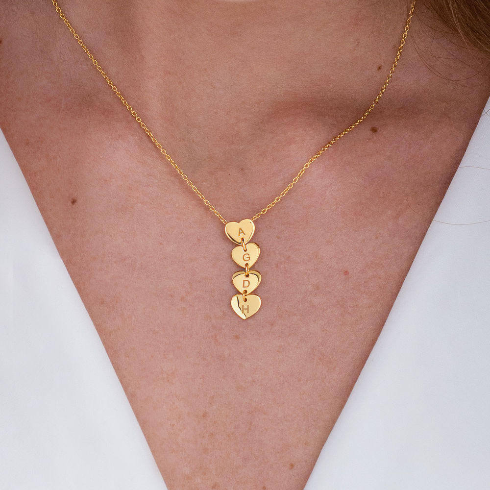 Vertical Initial Hearts Stackable Necklace in 18K Gold Vermeil - 1