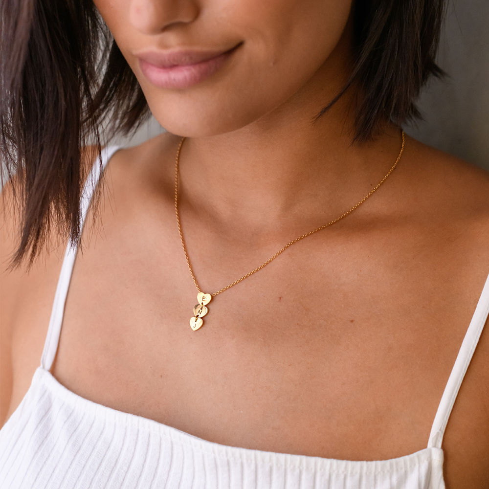 Vertical Initial Hearts Stackable Necklace in 18K Gold Vermeil - 3