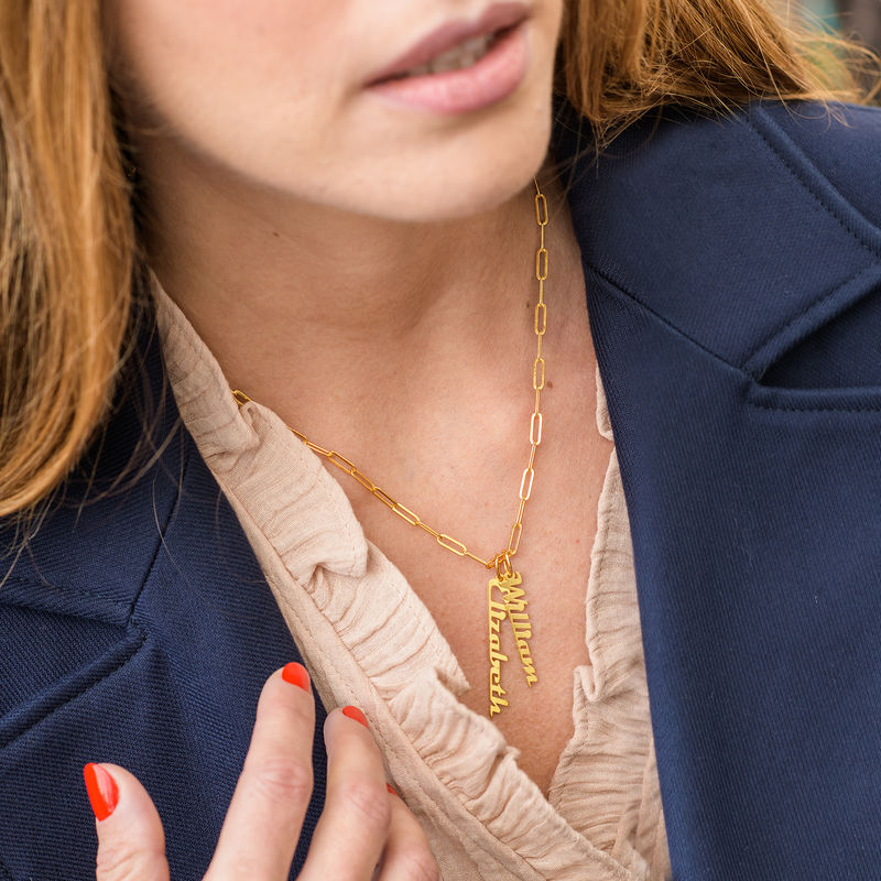 Chain Link Name Necklace in 18K Gold Plating - 2