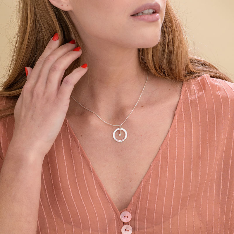 Personalized Circle Necklace with Diamond in Sterling Silver - 2