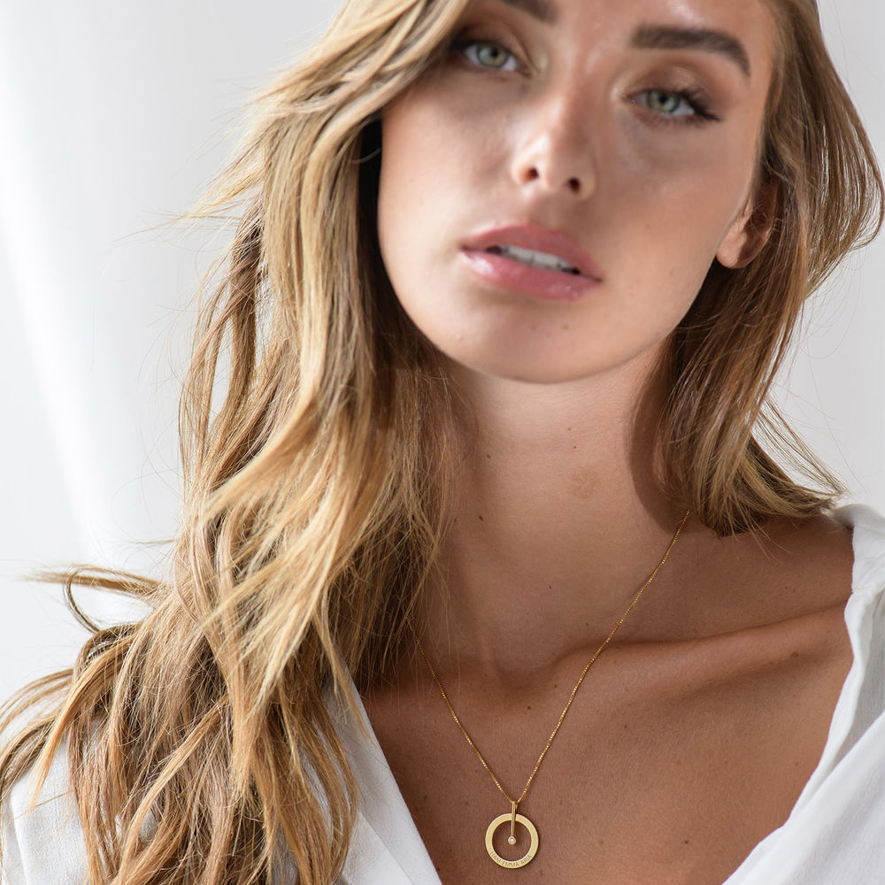 Personalized Circle Necklace with Diamond in 18K Gold Plating - 3