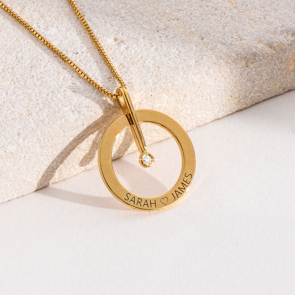 Personalized Circle Necklace with Diamond in 18K Gold Plating - 4