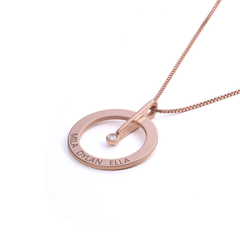 Personalized Circle Necklace with Diamond in 18K Rose Gold Plating - 1
