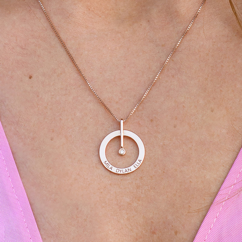 Personalized Circle Necklace with Diamond in 18K Rose Gold Plating - 3