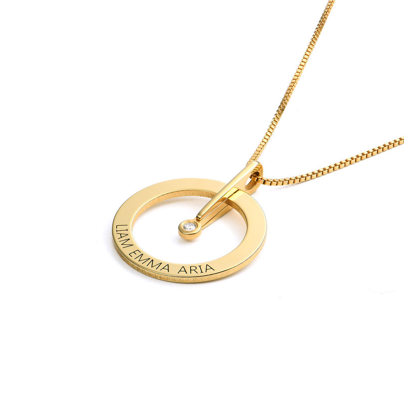 Personalized Circle Necklace with Diamond in 18K Gold Vermeil - 1