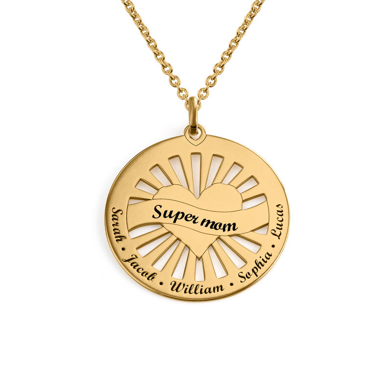Grandma Circle Pendant Necklace with Engraving in 18K Gold Plating - 1