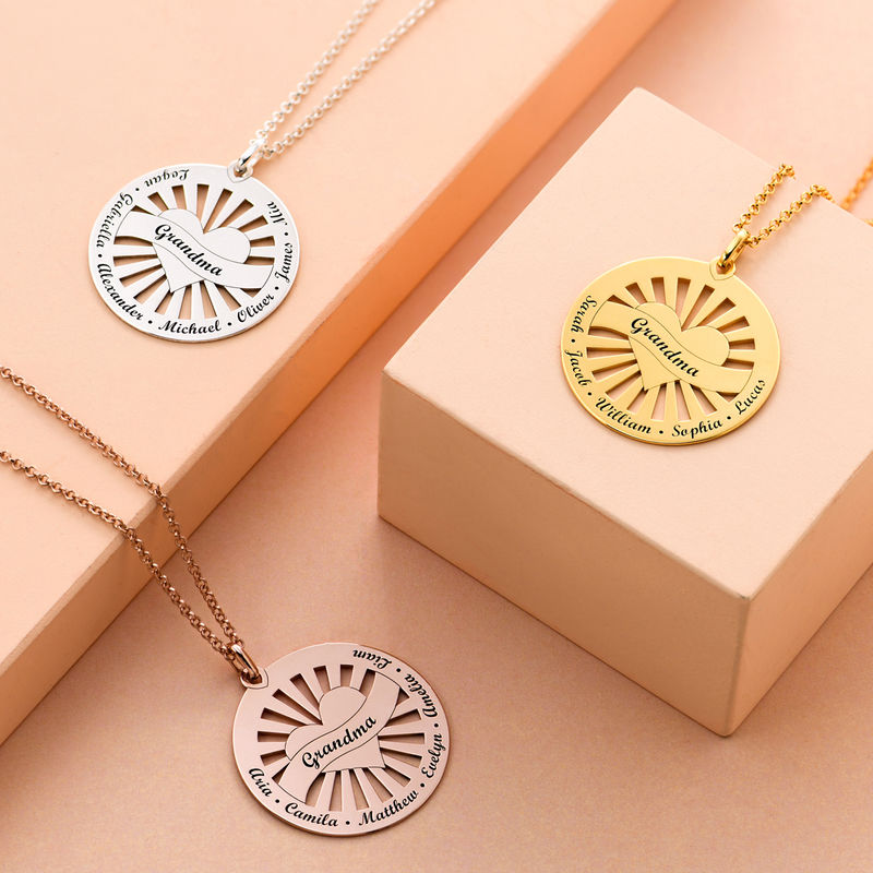 Grandma Circle Pendant Necklace with Engraving in 18K Rose Gold Plating - 2