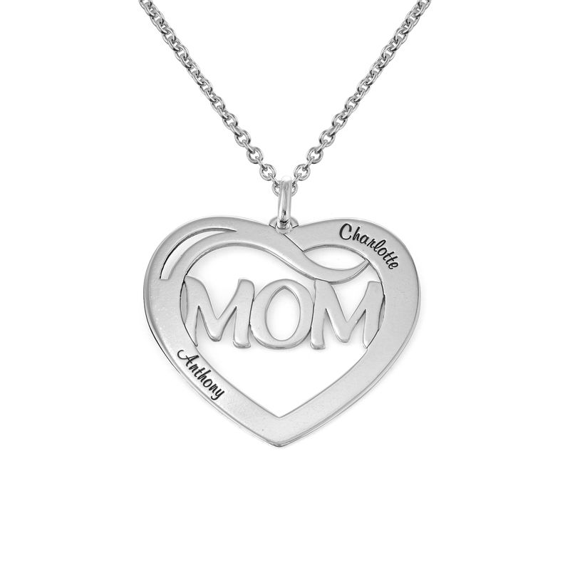 Mom Heart Necklace with Kids Names in Sterling Silver