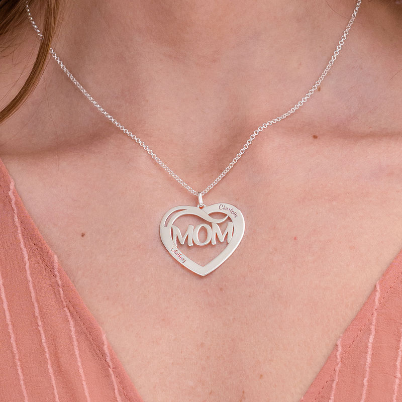 Mom Heart Necklace with Kids Names in Sterling Silver - 2