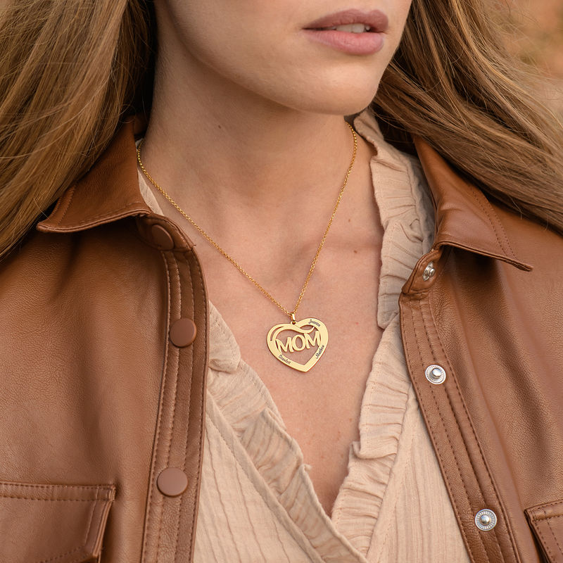 Mom Heart Necklace with Kids Names in 18K Gold Plating - 1