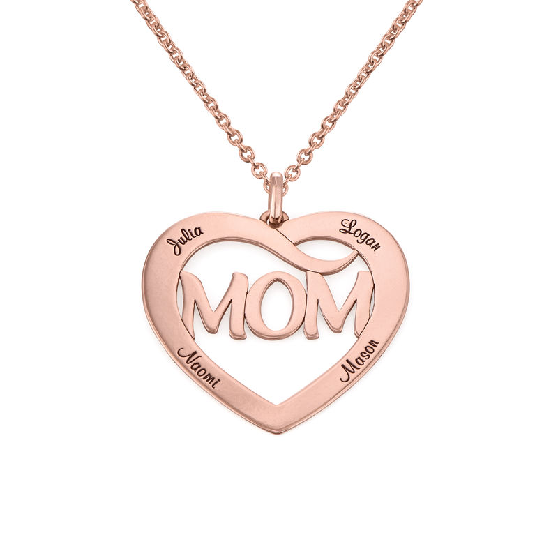Mom Heart Necklace with Kids Names in 18K Rose Gold Plating