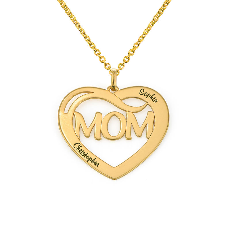 Mom Heart Necklace with Kids Names in 18K Gold Vermeil