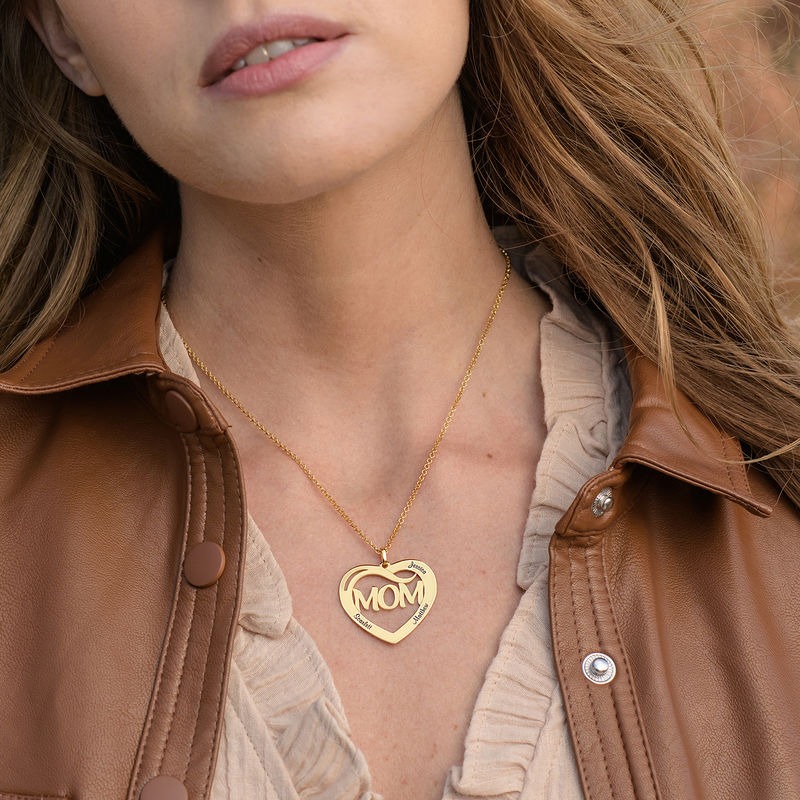 Mom Heart Necklace with Kids Names in 18K Gold Vermeil - 1
