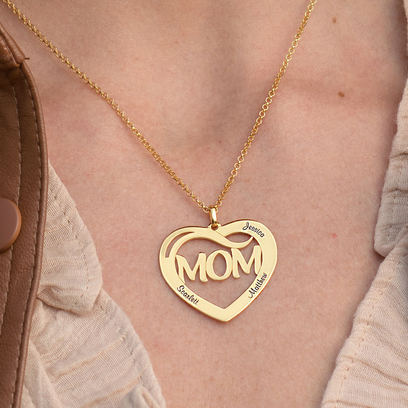 Mom Heart Necklace with Kids Names in 18K Gold Vermeil - 2