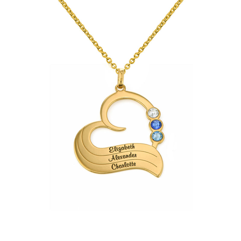 Personalized Birthstone Heart Necklace in 18K Gold Plating