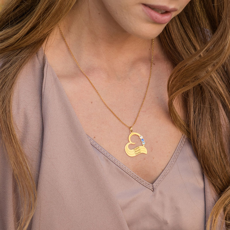Personalized Birthstone Heart Necklace in 18K Gold Plating - 1