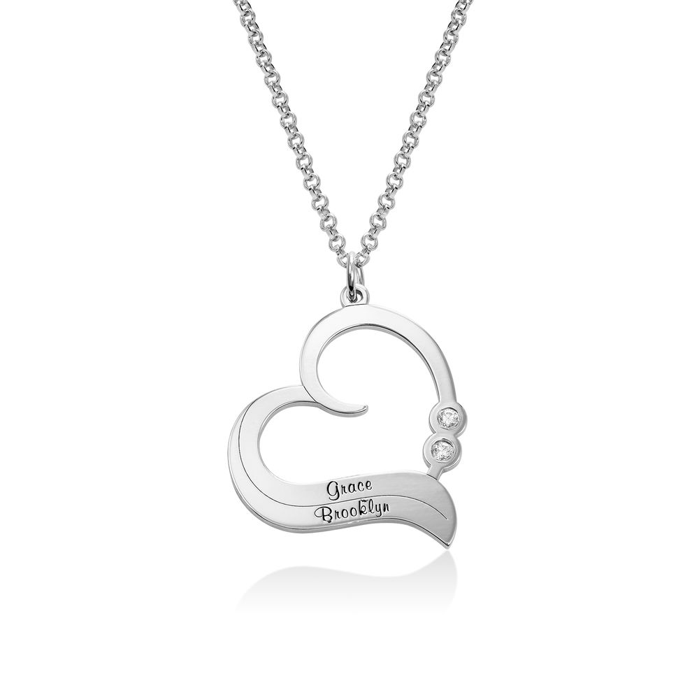 Personalized Heart Necklace in Sterling Silver with Diamond