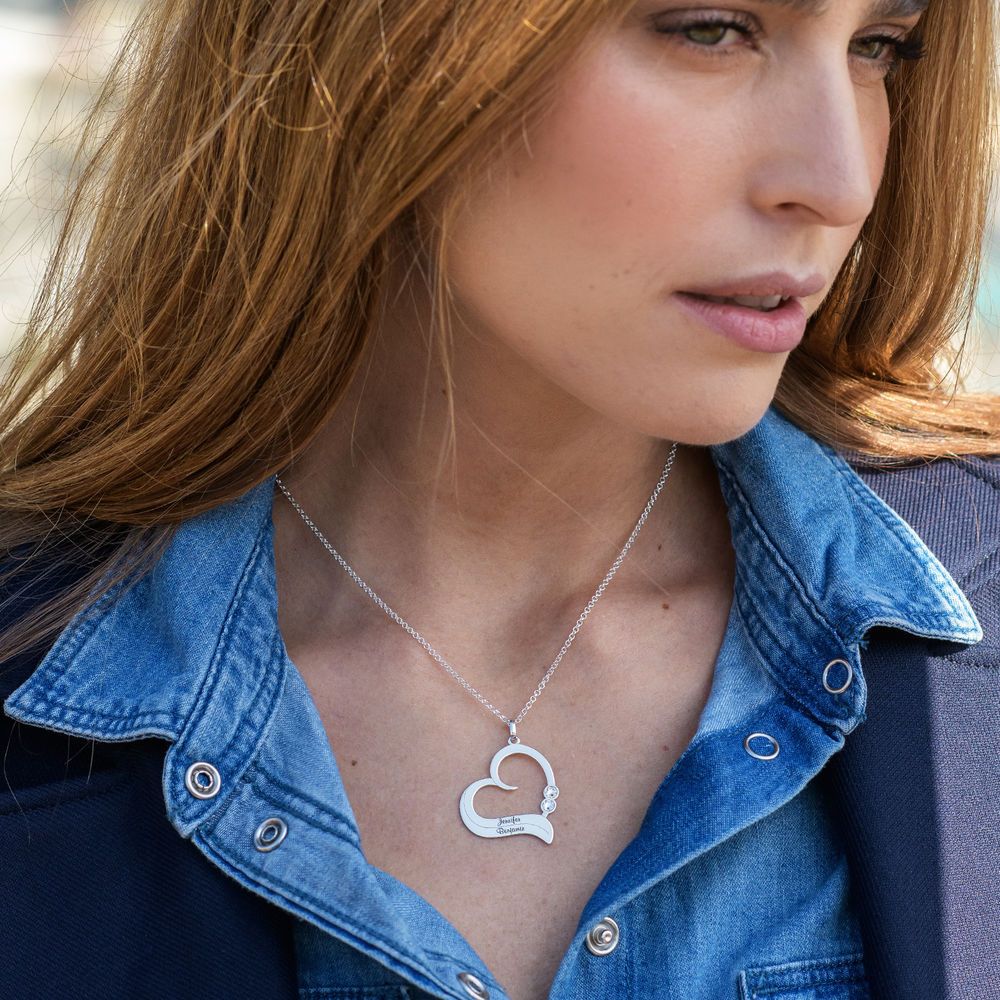 Personalized Heart Necklace in Sterling Silver with Diamond - 1
