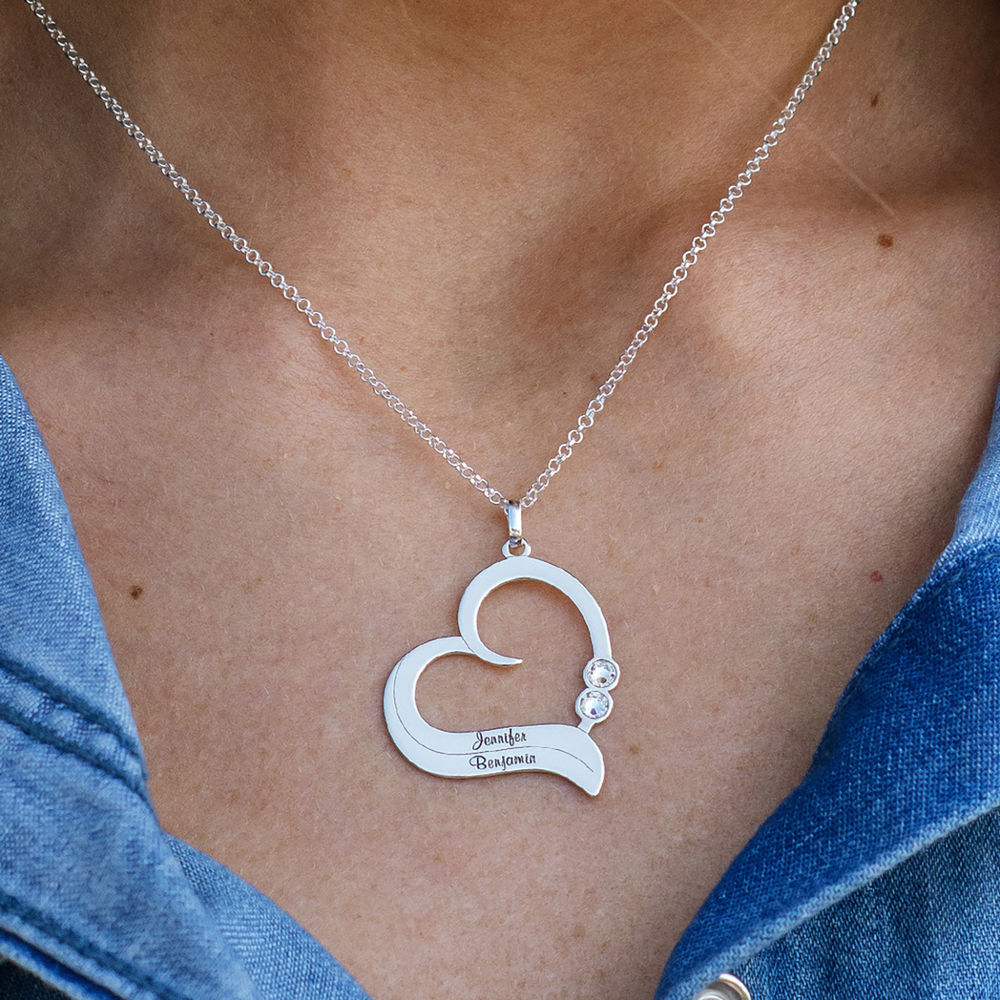 Personalized Heart Necklace in Sterling Silver with Diamond - 2
