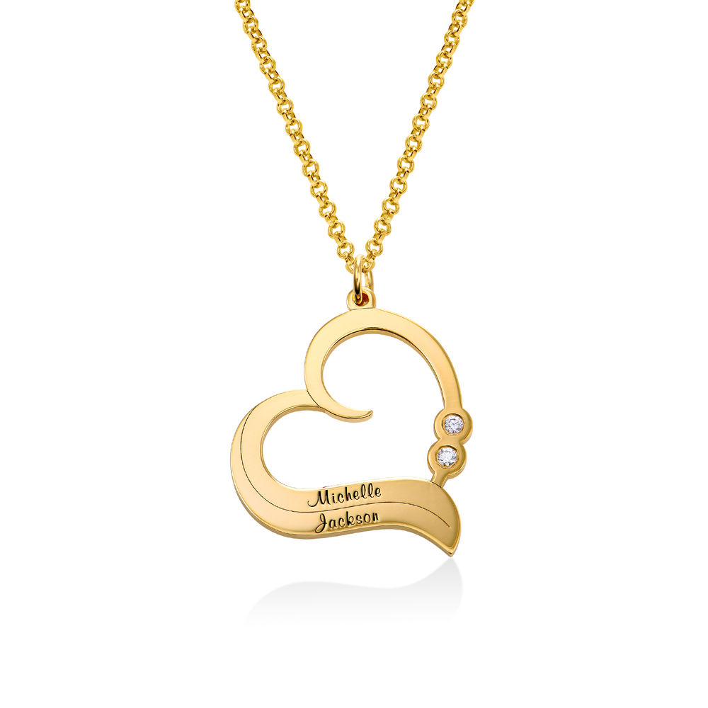 Personalized Heart Necklace in 18k Gold Plated with Diamond