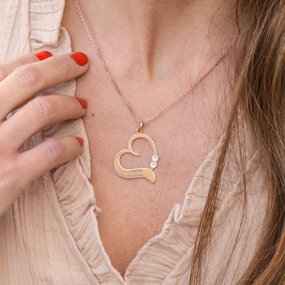 Personalized Heart Necklace in 18k Rose Gold Plated with Diamond - 2