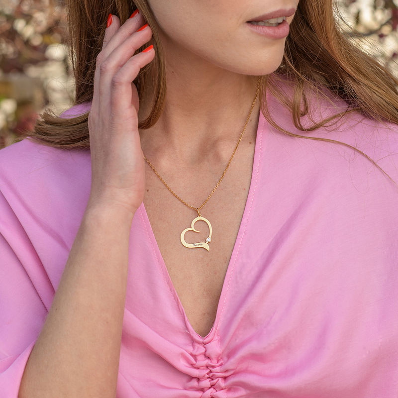 Personalized Birthstone Heart Necklace in 18K Gold Vermeil - 1