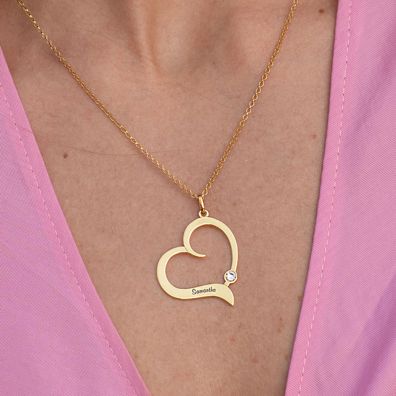 Personalized Birthstone Heart Necklace in 18K Gold Vermeil - 2