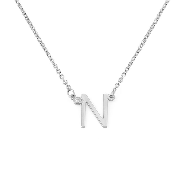 Initial Pendant Necklace with Cubic Zirconia in Sterling Silver