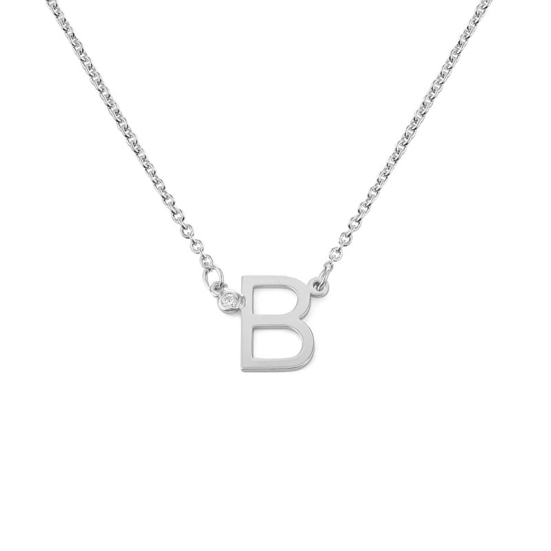 Initial Pendant Necklace with Cubic Zirconia in Sterling Silver - 1
