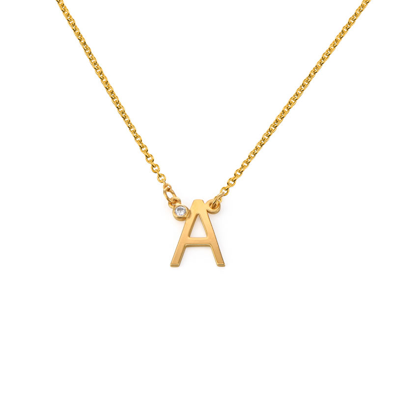 Initial Pendant Necklace with Cubic Zirconia in 18K Gold Plating