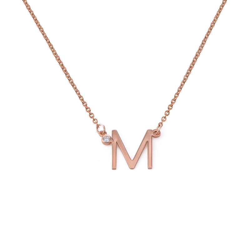 Initial Pendant Necklace with Cubic Zirconia in 18K Rose Gold Plating