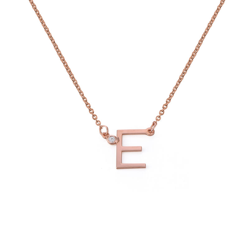 Initial Pendant Necklace with Cubic Zirconia in 18K Rose Gold Plating - 1