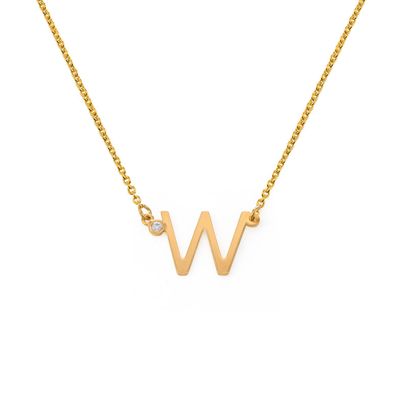 Initial Pendant Necklace with Cubic Zirconia in 18K Gold Vermeil