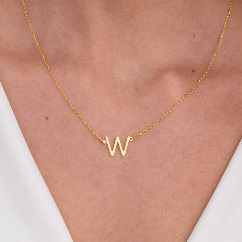 Initial Pendant Necklace with Cubic Zirconia in 18K Gold Vermeil - 2