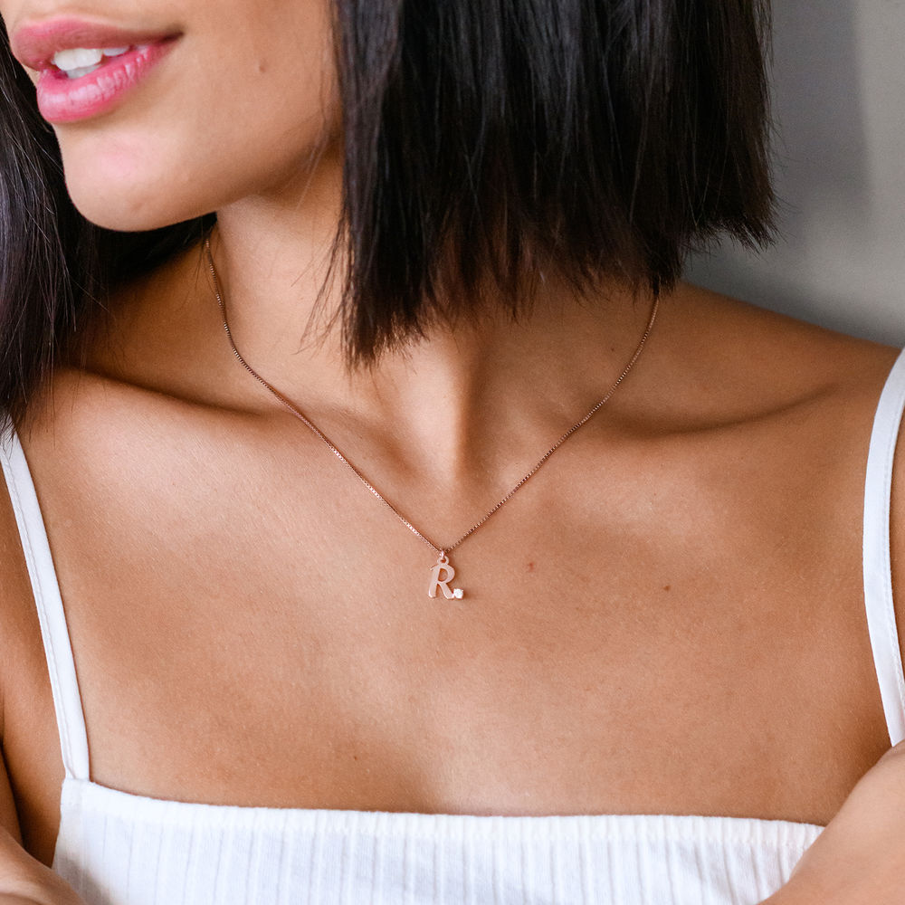 Diamond initial necklace in 18K Rose Gold Plating - 1