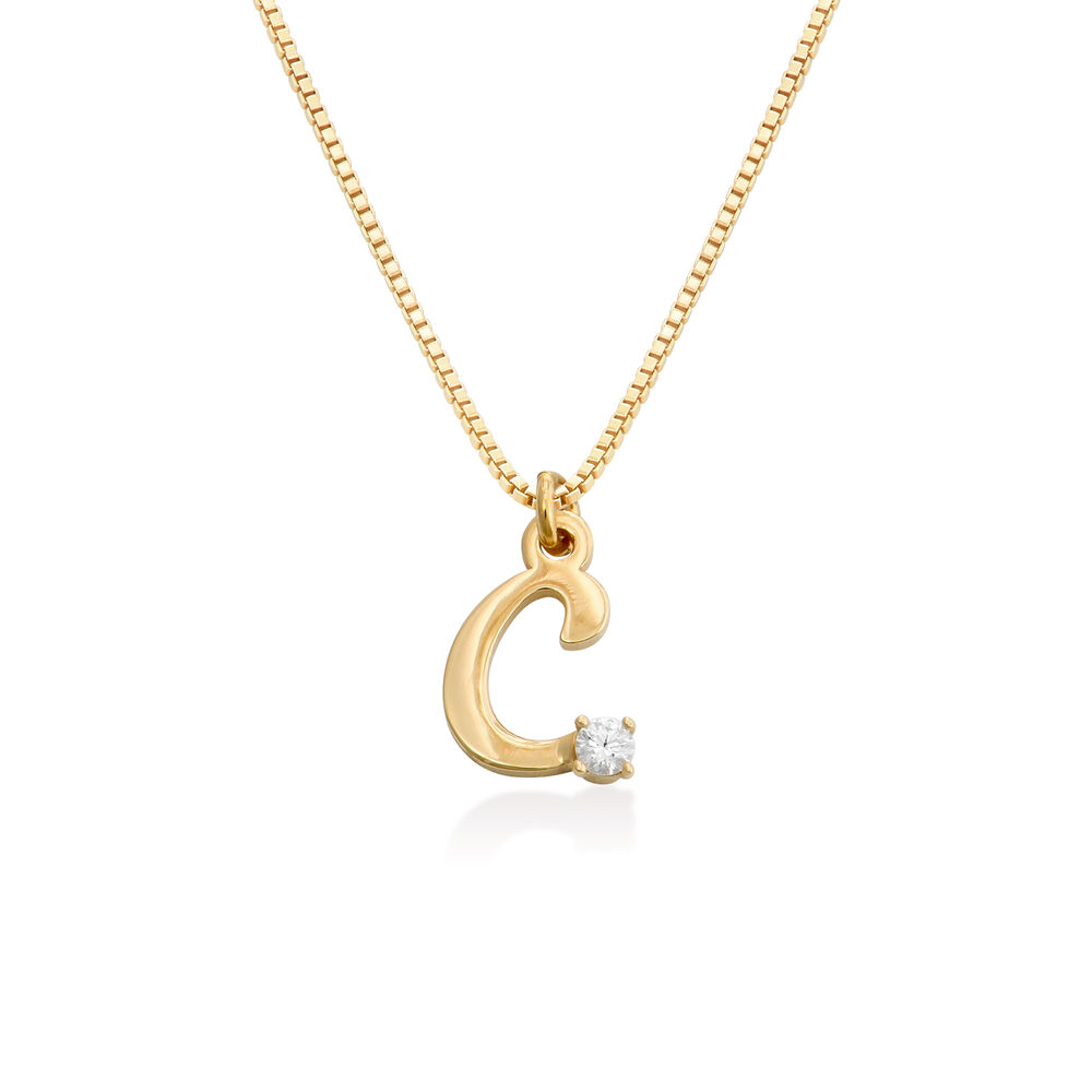 Diamond initial necklace in 18K Gold Vermeil