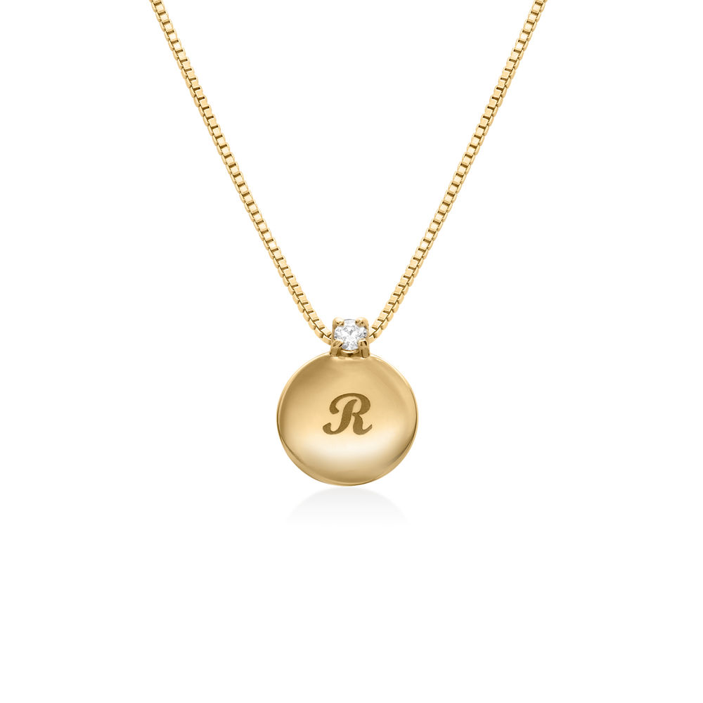 Small Circle Initial Necklace with Diamond in Gold Plating