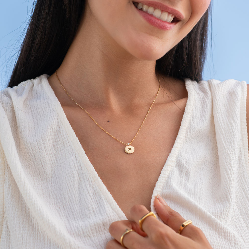 Small Circle Initial Necklace with Diamond in Gold Plating - 2