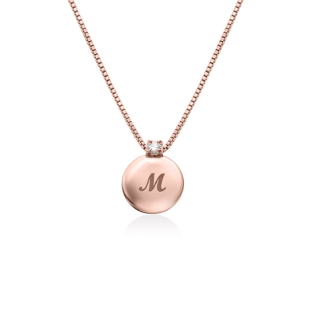 Small Circle Initial Necklace with Diamond in Rose Gold Plated